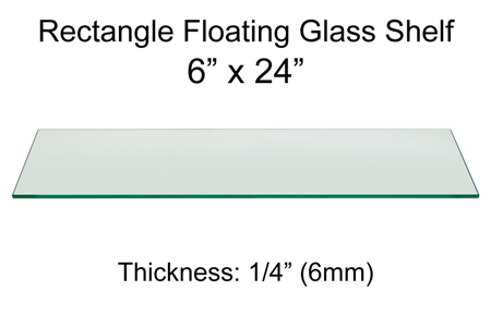 Rectangle Floating Glass Shelf 6 X 24 Inch 1 4 Inch Thick