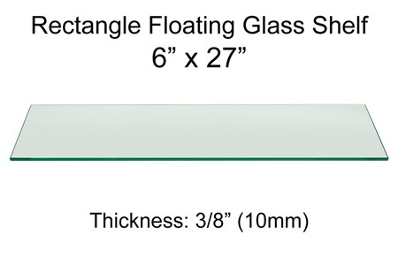 Rectangle Floating Glass Shelf 6 X 27 Dulles Glass And