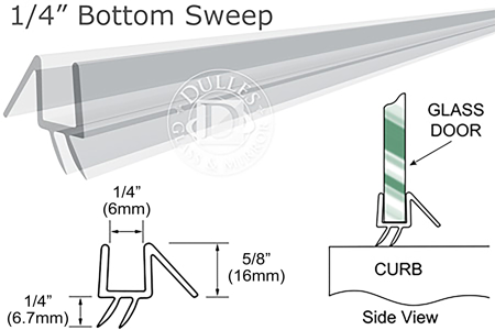36 Quot Clear Bottom Sweep With Drip Rail For 1 4 Quot Glass