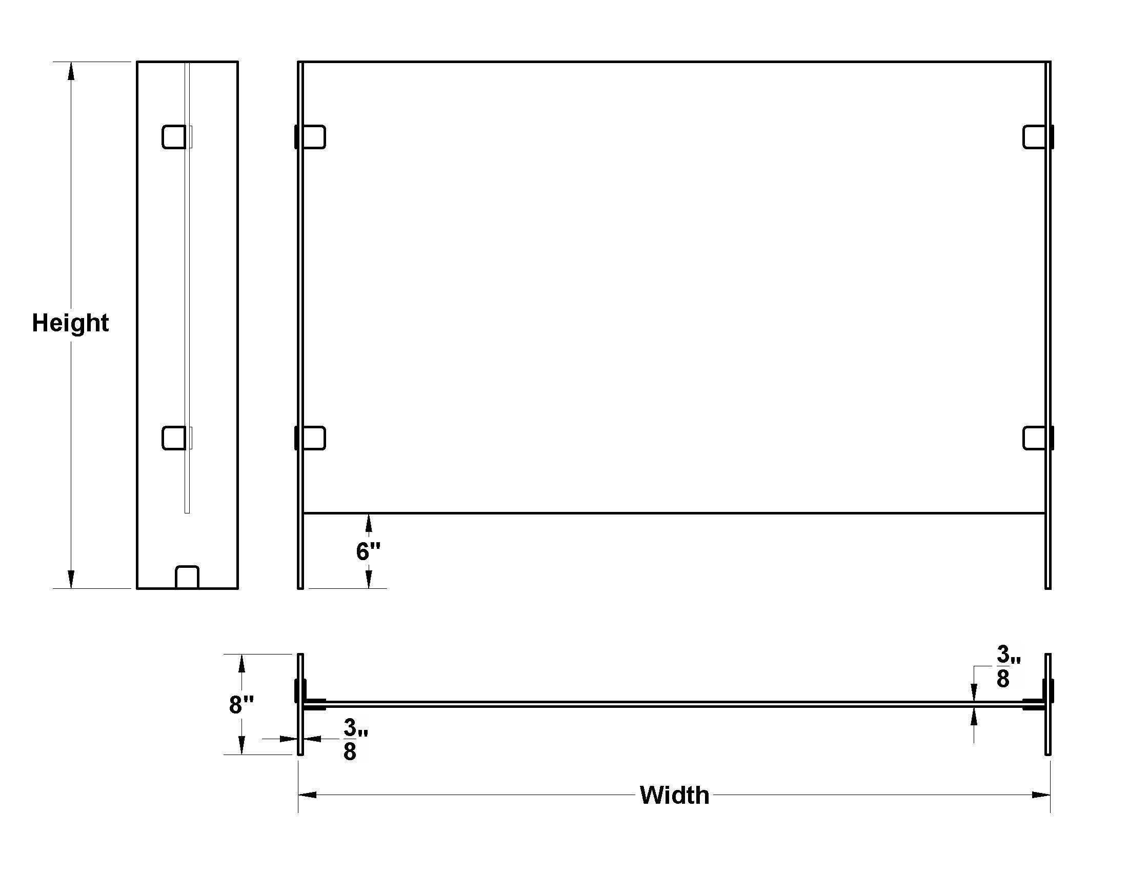 3/8 glass measurements