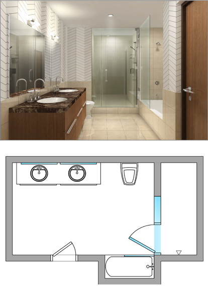 Frameless Inline Glass Shower Door