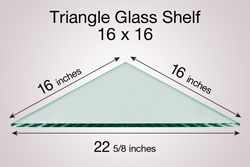 Triangle Glass Shelf 16 x 16