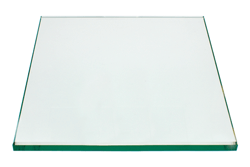 18 Inch Square Glass Table Top, 1/4 Inch Thick, Flat Polished Edge, Eased Corners, Tempered