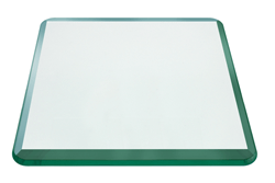 42 Inch Square Glass Table Top, 1/2 Inch Thick, Bevel Polished Edge, Radius Corners, Annealed