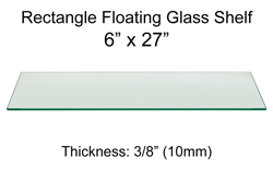 Rectangle Floating Glass Shelf 6 x 27