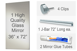 36x72 Inch Rectangle MiraSafe Gym Mirror Kit - 1/4 Inch Thick Single Pack
