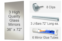 36x72 Inch Rectangle MiraSafe Gym Mirror Kit - 1/4 Inch Thick Triple Pack