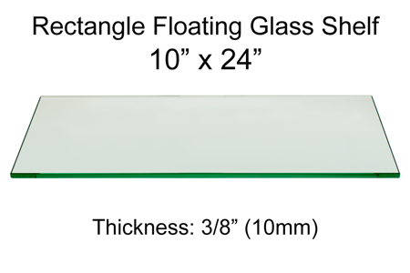 Rectangle Floating Glass Shelf 10 x 24