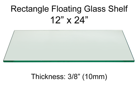 Rectangle Floating Glass Shelf 12 x 24