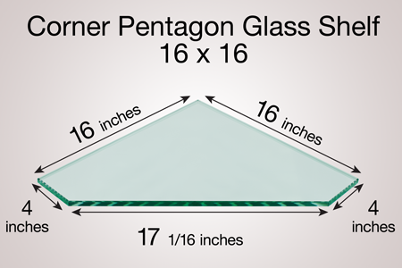 Corner Pentagon Glass Shelf 16 x 16