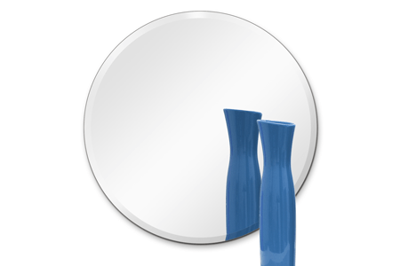 "18"" Round Mirror: 1/4"" Thick, Beveled Polished with Hook"