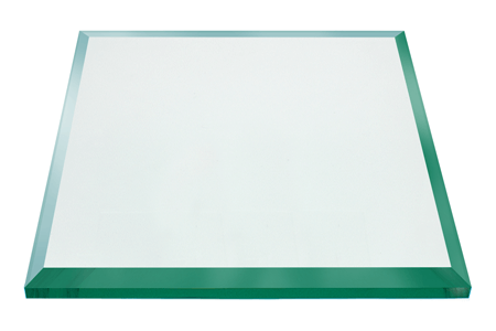 22 Inch Square Glass Table Top, 1/2 Inch Thick, Bevel Polished Edge, Eased Corners, Annealed