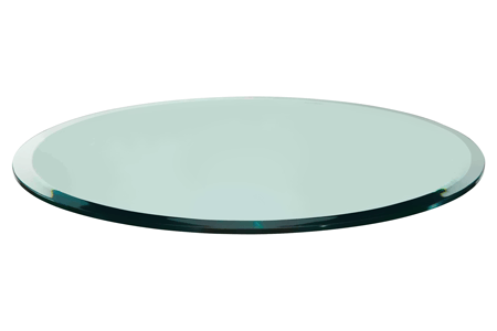 24 Round Glass Table Top, 1/2 Thick, Beveled Edge, Tempered Glass