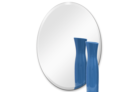 24 x 36 Inch Oval 1/4 Inch Thick Beveled Polished Mirror with Hooks