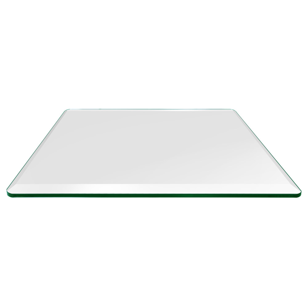 24x36 Inch Rectangle Glass Table Top, 3/8 Inch Thick, Bevel Polished, Radius Corners, Tempered