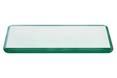 24x48 Inch Rectangle Glass Table Top, 1/2 Inch Thick, Bevel Polished Edge, Radius Corners, Annealed