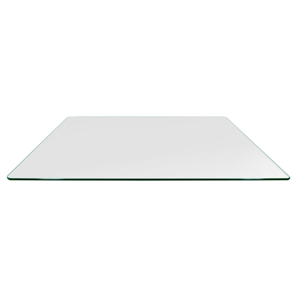 24x48 Inch Rectangle Glass Table Top, 3/8 Inch Thick, Pencil Polished, Radius Corners, Tempered
