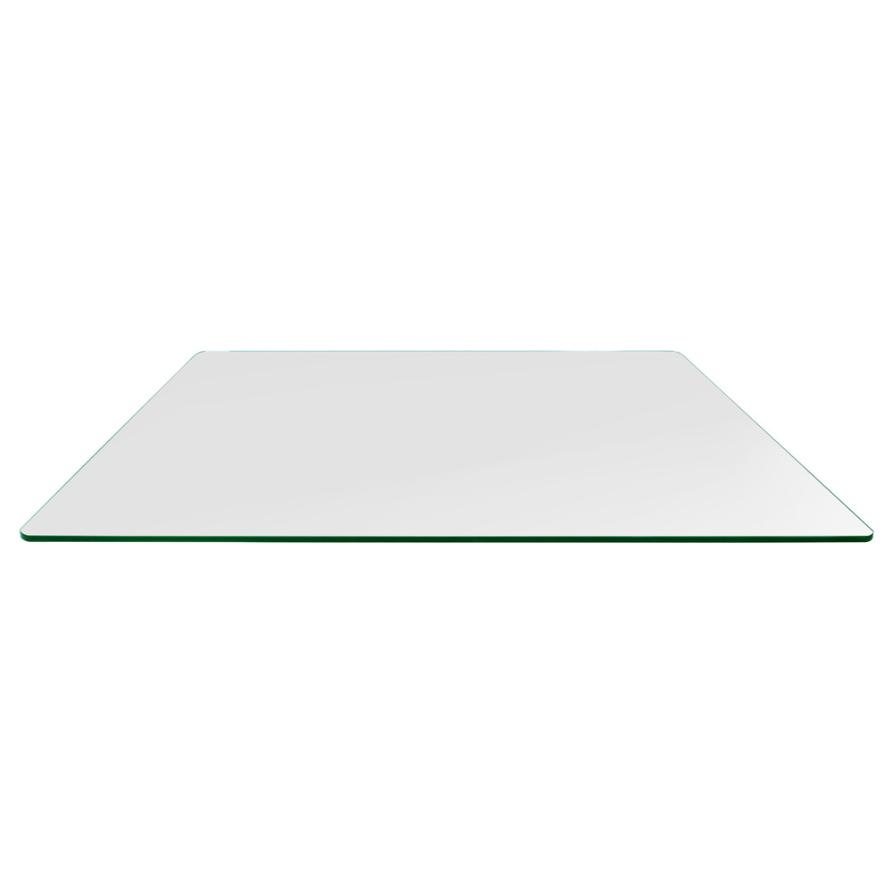 36x60 Inch Rectangle Glass Table Top, 3/8 Inch Thick, Flat Polished, Radius Corners, Tempered
