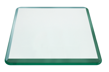 42 Inch Square Glass Table Top, 1/2 Inch Thick, Bevel Polished, Radius Corners