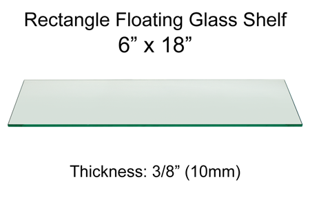 Rectangle Floating Glass Shelf 6 x 18