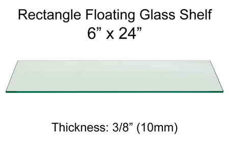 Rectangle Floating Glass Shelf 6 x 24