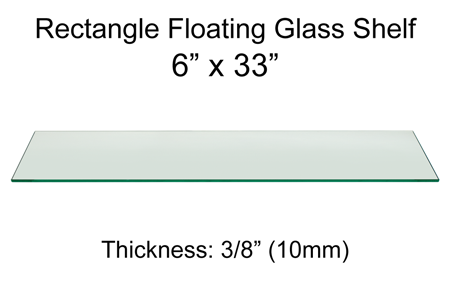 Rectangle Floating Glass Shelf 6 x 33