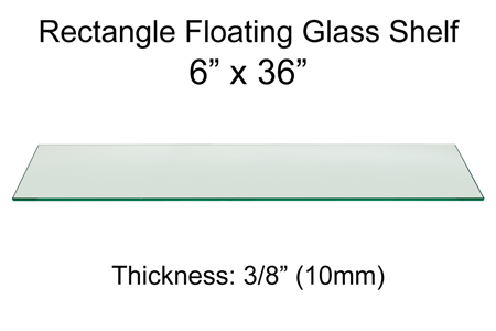 Rectangle Floating Glass Shelf 6 x 36