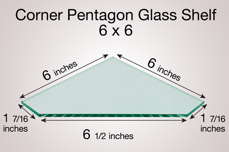 Corner Pentagon Glass Shelf 6 x 6