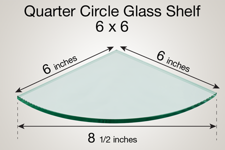 Quarter Circle Glass Shelf 6 x 6