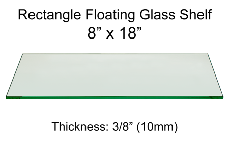 Rectangle Floating Glass Shelf 8 x 18
