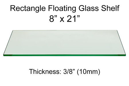 Rectangle Floating Glass Shelf 8 x 21