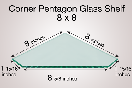 Corner Pentagon Glass Shelf 8 x 8