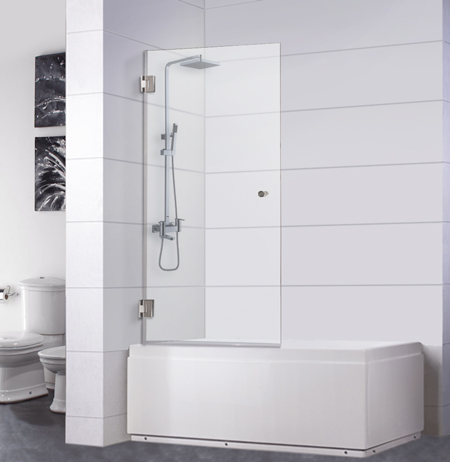 Bathtub Screen 30 x 60, 3/8 Thick, Chrome with Knob, Siena Series