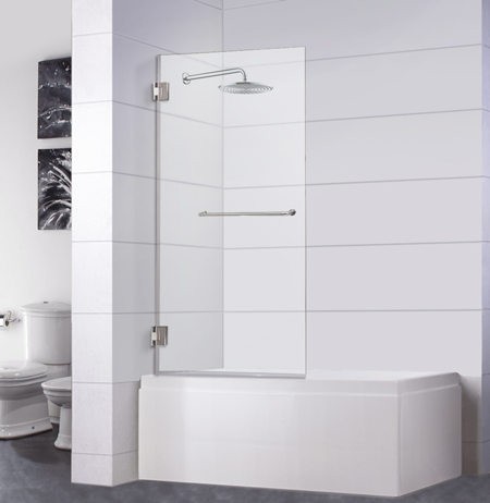 Bathtub Screen 32 x 64, 3/8 Thick, Chrome with Towel Bar, Siena Series