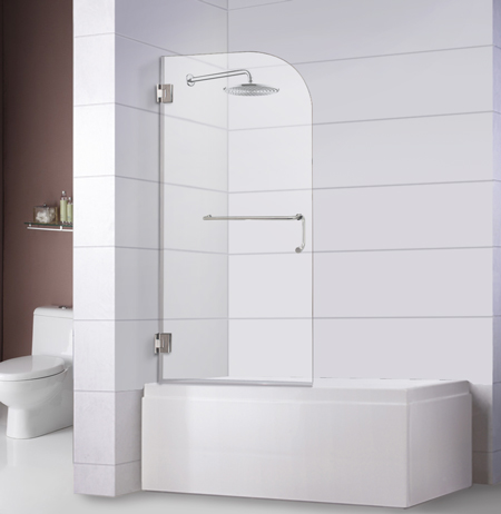 Bathtub Screen 32 x 60, 3/8 Thick, Chrome with Towel Bar Combo