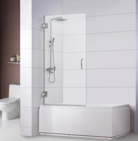 Bathtub Screen 32 x 62, 3/8 Thick, Chrome with Tubular Handle, Siena Series