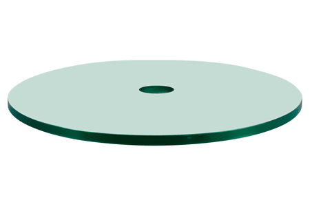 42 Round Glass Patio Table Top, 1/4 Thick, Flat Polish Edge, Tempered Glass with Center Hole