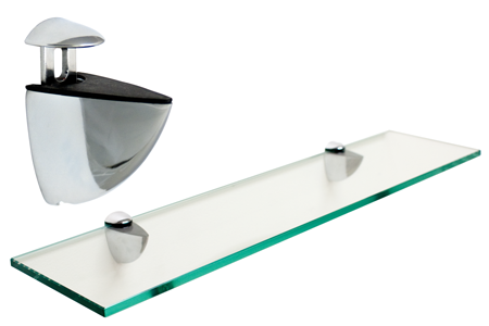Rectangle Floating Glass Shelf 8 x 18 w/Chrome Brackets