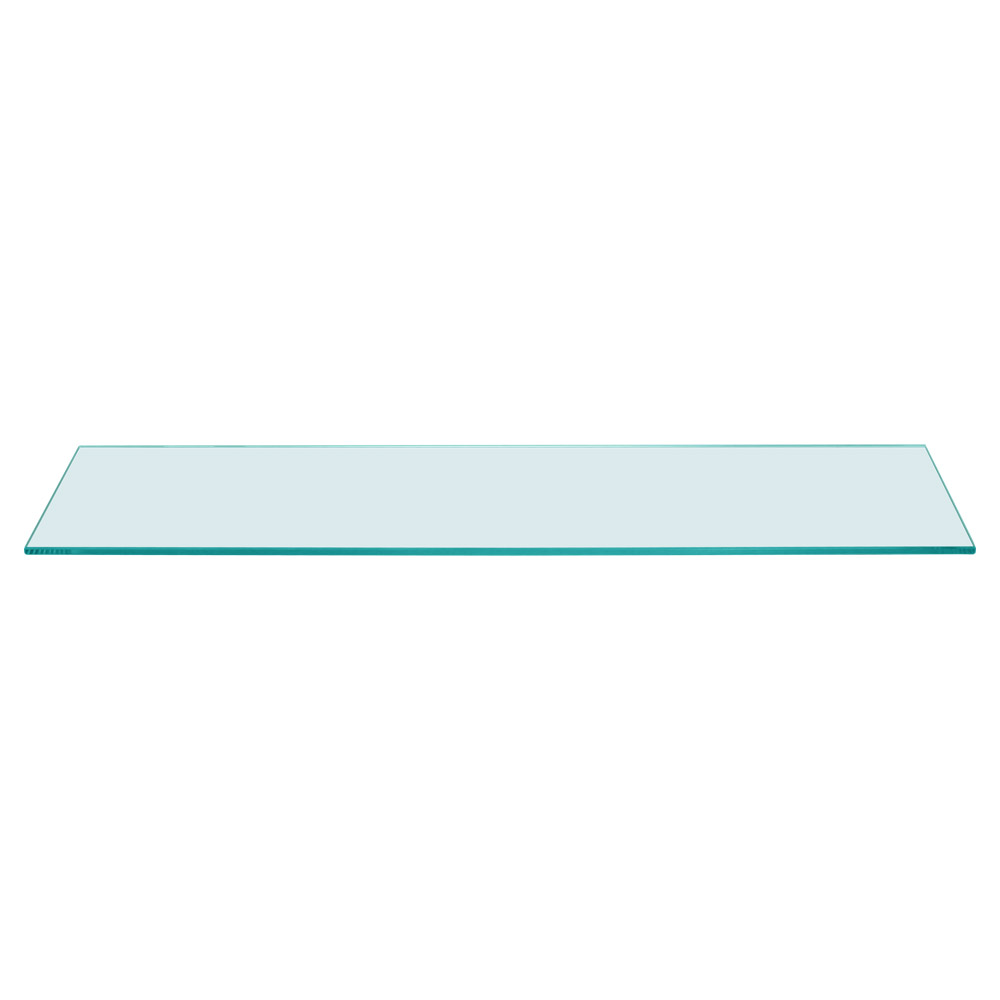 Rectangle Floating Glass Shelf 6 x 24 Inch, 1/4 Inch Thick
