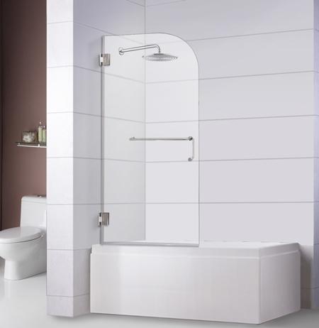 "Bathtub Screen 32"" x 60"", 3/8"" Thick, Chrome with Towel Bar Combo"