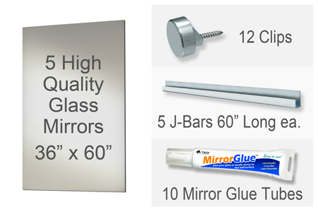 36x60 Inch Rectangle MiraSafe Gym Mirror Kit - 1/4 Inch Thick Five Pack