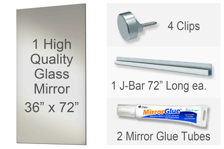 36x72 Inch Rectangle MiraSafe Gym Mirror Kit - 1/4 Inch Thick