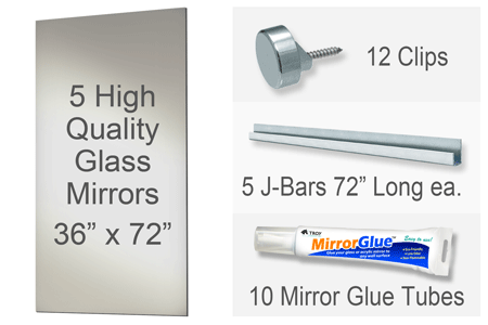 36x72 Inch Rectangle MiraSafe Gym Mirror Kit - 1/4 Inch Thick Five Pack