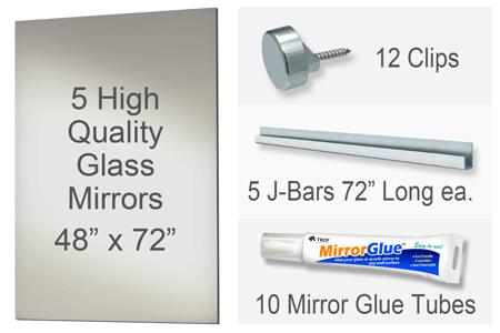 48x72 Inch Rectangle MiraSafe Gym Mirror Kit - 1/4 Inch Thick Five Pack