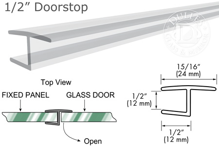 95 Clear H Jamb 180° Inline for 1/2 Glass-to-Glass Door