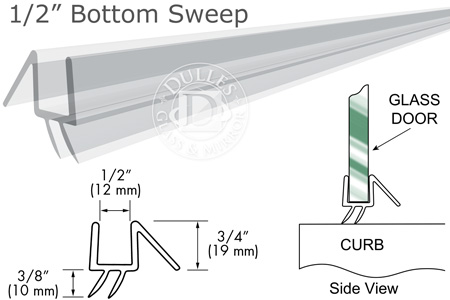 """36"""" Clear Bottom Sweep with Drip Rail for 1/2"""" Glass"""