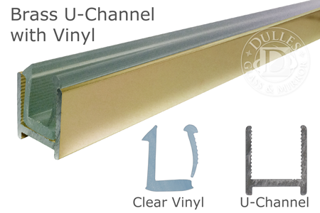 98 Brass Dry Glaze U-Channel with Clear Vinyl