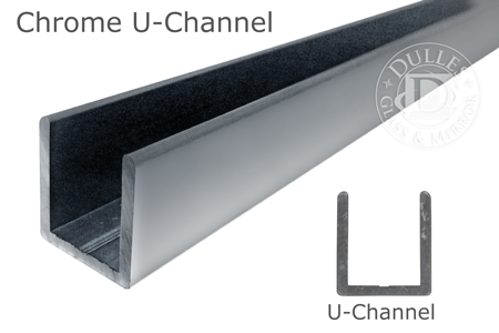 95 Chrome Deep U-Channel for 3/8 Thick Glass