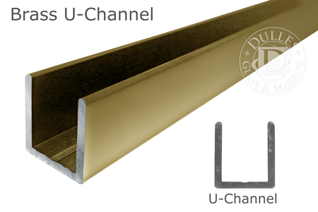 98 Brass Deep U-Channel for 1/2 Thick Glass