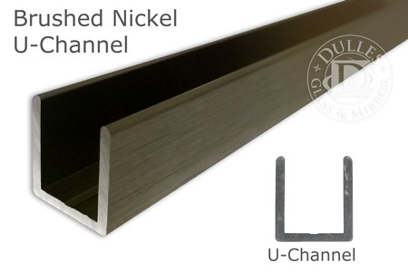 95 Brushed Nickel Deep U-Channel for 3/8 Thick Glass
